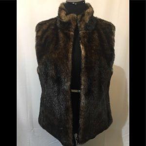 Jackets & Blazers - Reversible brown satin/faux fur vest Sz 10/12